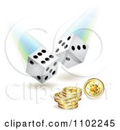Clipart White Rolling Dice And Clover Coins Royalty Free Vector Illustration