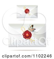 Clipart Butterfly And Envelopes With Wax Seals Royalty Free Vector Illustration