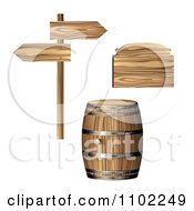 Clipart Wooden Wine Barrel Directional Signs And Plaque Royalty Free Vector Illustration