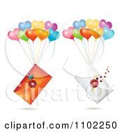 Clipart Wax Sealed Envelopes With Balloons Royalty Free Vector Illustration