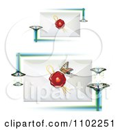 Clipart Butterflies And Wax Sealed Envelopes 1 Royalty Free Vector Illustration