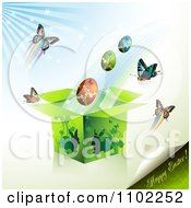 Clipart Happy Easter Text With A Gift Box Eggs And Butterflies 1 Royalty Free Vector Illustration by merlinul