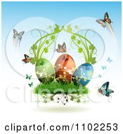 Clipart Easter Eggs With Butterflies And Grass 2 Royalty Free Vector Illustration by merlinul