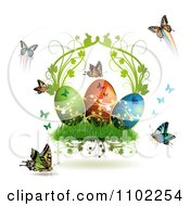 Clipart Easter Eggs With Butterflies And Grass 3 Royalty Free Vector Illustration