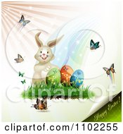 Clipart Happy Easter Text Under A Bunny With Eggs And Butterflies Royalty Free Vector Illustration by merlinul