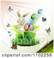 Clipart Happy Easter Text With A Bunny Gift Box Eggs And Butterflies Royalty Free Vector Illustration by merlinul