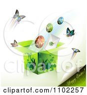 Clipart Happy Easter Text With A Gift Box Eggs And Butterflies 2 Royalty Free Vector Illustration by merlinul