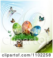 Clipart Happy Easter Text With Eggs And Butterflies 1 Royalty Free Vector Illustration by merlinul