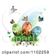 Clipart Rainbow With Butterflies And Easter Eggs 1 Royalty Free Vector Illustration by merlinul