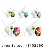 Clipart Envelopes With Easter Eggs And Bunny Wax Seals Royalty Free Vector Illustration by merlinul