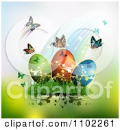 Clipart Rainbow With Butterflies And Easter Eggs 2 Royalty Free Vector Illustration by merlinul