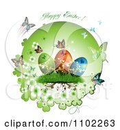 Clipart Happy Easter Text With Eggs And Butterflies 2 Royalty Free Vector Illustration by merlinul