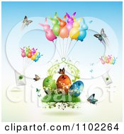 Clipart Butterflies Bunny Balloons With Letters And Easter Eggs Royalty Free Vector Illustration by merlinul