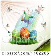 Clipart Happy Easter Text With Eggs Bunnies And Butterflies Royalty Free Vector Illustration by merlinul