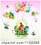 Easter Bunnies With Balloons Over Butterflies And Eggs 1