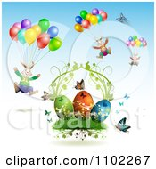 Clipart Easter Bunnies With Balloons Over Butterflies And Eggs 2 Royalty Free Vector Illustration by merlinul