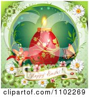 Happy Easter Banner With A Red Candle Egg On Green 2