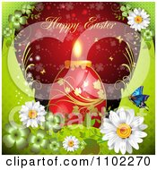 Happy Easter Greeting Over A Red Candle Egg On Green And Red