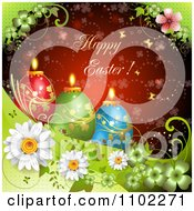 Happy Easter Greeting Over Candle Eggs On Green And Red