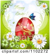 Happy Easter Greeting With A Butterfly And Red Egg Over Flowers