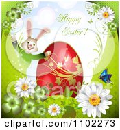 Happy Easter Greeting With An Egg Bunny And Flowers