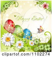 Happy Easter Greeting With A Butterfly And Eggs Over Flowers