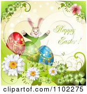 Happy Easter Greeting With Eggs A Bunny Rainbow And Flowers