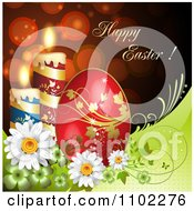 Happy Easter Greeting With Candles Flowers And A Red Egg