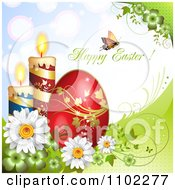 Butterfly With Happy Easter Text Over Candles Flowers And An Egg