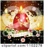 Happy Easter Banner With A Red Candle Egg 2