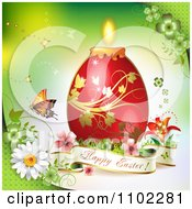 Happy Easter Banner With A Red Candle Egg On Green 1