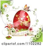 Happy Easter Banner With A Red Egg And Butterfly On Green 2