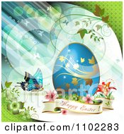 Happy Easter Banner With A Blue Egg And Butterfly