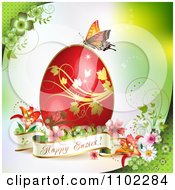Happy Easter Banner With A Red Egg And Butterfly On Green 1