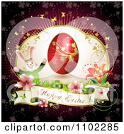 Happy Easter Banner With A Bunny Flowers And Red Egg