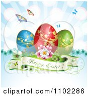 Happy Easter Banner With Three Eggs And Butterflies Over Blue Rays