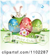 Happy Easter Greeting With Eggs A Bunny And Butterflies