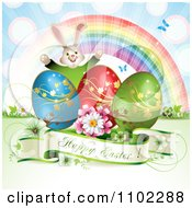 Happy Easter Greeting With Eggs A Bunny Rainbow And Butterflies 2