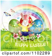 Happy Easter Greeting With Eggs A Bunny Rainbow And Butterflies 1