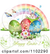 Happy Easter Greeting With Eggs A Bunny Rainbow And Butterflies 3