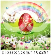 Red Easter Egg Bunnies Rainbow And Butterflies 1