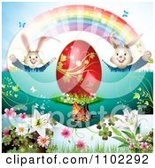 Red Easter Egg Bunnies Rainbow And Butterflies 2