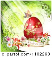 Happy Easter Banner With A Red Egg And Butterfly Over Green