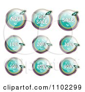 Round Turquoise Butterfly Retail Sale Icons