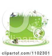 Clipart Green Grassy Vine Butterfly And Globe Frame Royalty Free Vector Illustration by merlinul