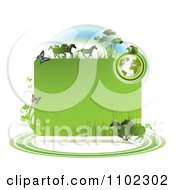 Clipart Green Globe Frame With Wild Horses And Butterflies Royalty Free Vector Illustration