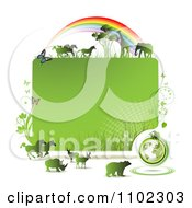 Clipart Green Globe Frame With Butterflies And Wild Animals Under A Rainbow Royalty Free Vector Illustration