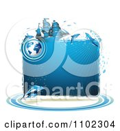 Clipart Blue Water Globe Ship And Dolphins Frame Royalty Free Vector Illustration by merlinul
