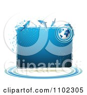 Clipart Blue Water Globe And Dolphins Frame Royalty Free Vector Illustration by merlinul