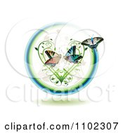 Butterflies In A Circle With A Vine Heart